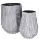 Vase Keiko en zinc, ensemble de 2, D26 / 15.5cm, H